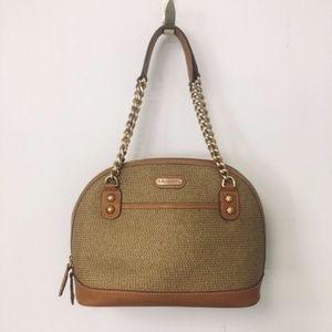 Eric Javits Woven Straw Leather Shoulder Bag